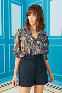 Finley Top - Olive Paisley