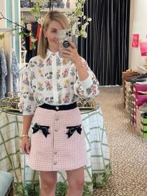 Secret Garden Tweed Mini Skirt - Pink