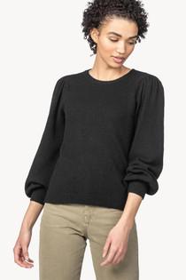 PA1510 Puff Sleeve Crew Neck Sweater - Black