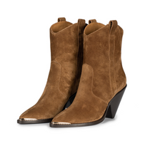 Toral Tobacco-Colored Suede Ankle Boots