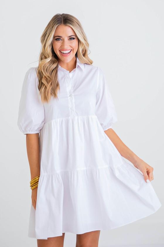 K21005 POPLIN TIER DRESS - WHITE