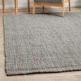 Small Handwoven Indian Jute Rug  – Light Grey