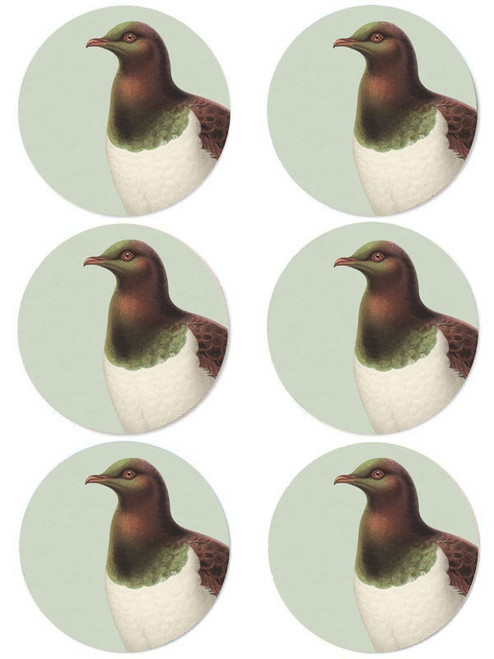 Hushed Green Kereru Coaster (Pack of 6)