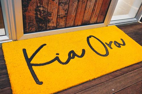 LARGE Kia Ora Door Mat - Kowhai Yellow
