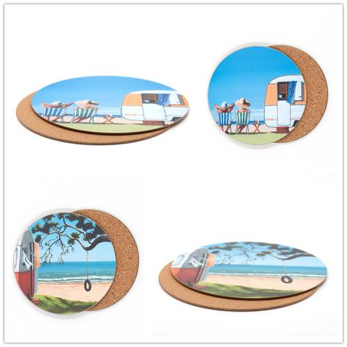 Graham Young - Caravan - Placemat & Coaster Set (4 placemat / 4 coaster)