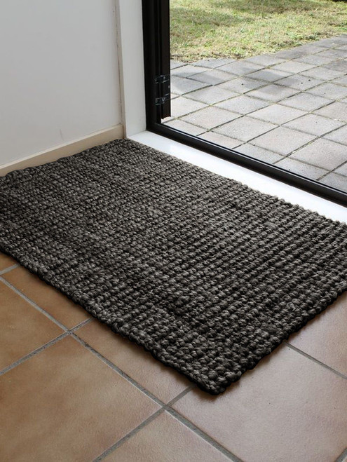 Handwoven Indian Jute Mat - Dark Grey