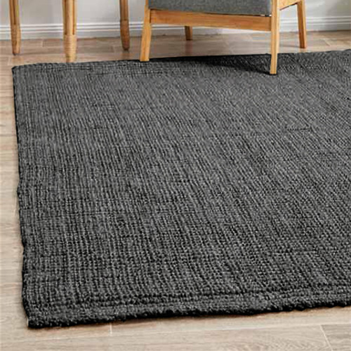 Small Handwoven Indian Jute Rug  – Dark Grey