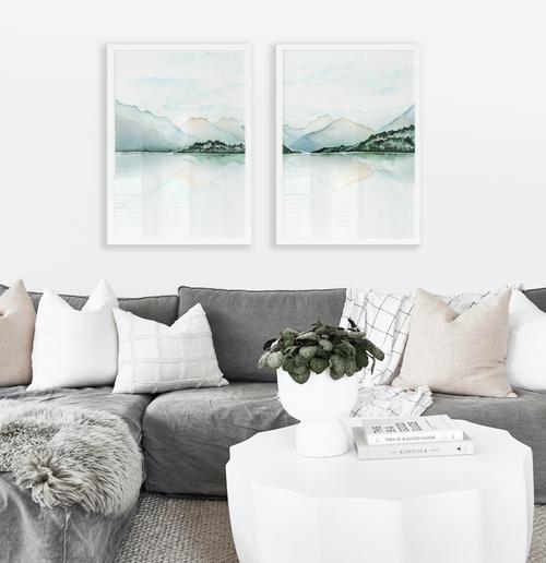 Moke Lake Pair Printed Artwork