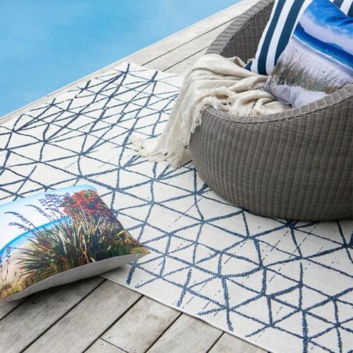 White/Faded Denim indoor oroutdoor  rug