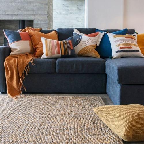 Ochre wool blend rug