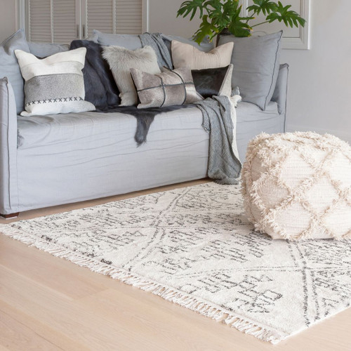 Black/Natural White cotton rug