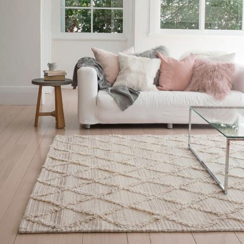 Natural White wool rug