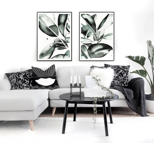 Magnolia Leaves Pair Printed Artwork