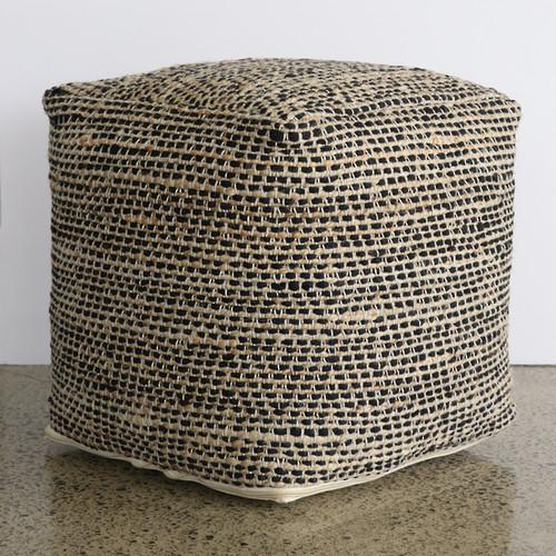 Ottoman - Black Natural  - Hemp/Cotton