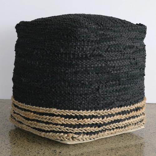 Ottoman - Black Natural  - Leather/Hemp