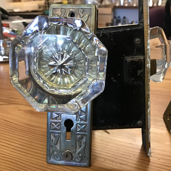 Antique Mortise Lock with Glass Knob Set