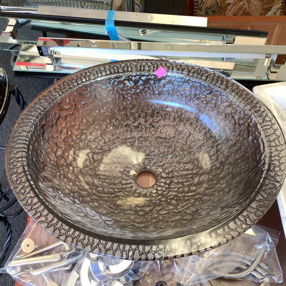 Oval Glass Sink with Design