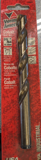Cobalt Drill Bit (carded) 31/64'' Vermont American 12681