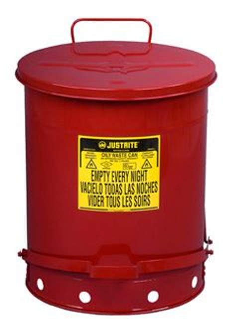 Safety Oily Waste Can 14 Gal Justrite 09500