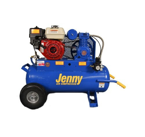 Jenny Air Compressor Portable Wheeled 5HP Gas 8.9cfm @ 100psi 17g Tank