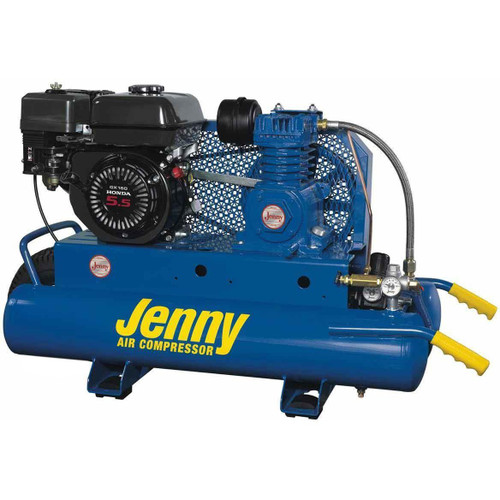 Jenny Air Compressor Portable Wheeled 5HP Gas 8.9cfm @ 100psi 8gal Tank