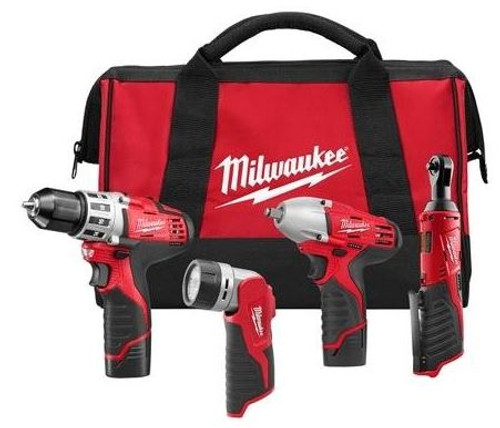 Drill Driver Impact and Ratchet Kit M12 Milwaukee 2493-24