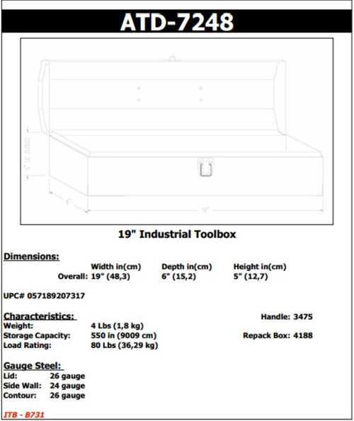 Tool Box 19in Hip Roof ATD-7248