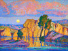 Art Prints of Late Moon Rising, Wild Horse Creek by Birger Sandzen