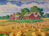 Art Prints of Red Farm and Wheat Shocks by Birger Sandzen