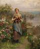 Art Prints of Young Woman Knitting by Daniel Ridgway Knight