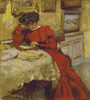 Art Prints of Mrs. Hessel Reading in a Red Dress by Edouard Vuillard