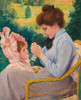 Art Prints of Woman Crocheting by Federico Zandomeneghi