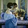 Art Prints of Girl in Blue Arranging Flowers by Frederick Carl Frieseke