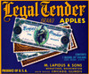 Art Prints of 055 Legal Tender Apples, Fruit Crate Labels