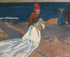 Art Prints of Gathering the Sail, Valencia Beach by Joaquin Sorolla y Bastida