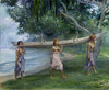 Art Prints of Girls Carrying a Canoe, Samoa by John La Farge