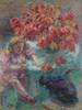 Art Prints of Young Girl with Cat by Nikolai Aleksandrovich Tarkhov