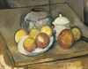 Art Prints of Straw Trimmed Vase, Sugar Bowl and Apples by Paul Cezanne