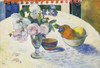 Art Prints of Flowers and a Bowl of Fruit on a Table by Paul Gauguin