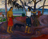 Art Prints of I Raro te Oviri (Under the Pandanus) by Paul Gauguin