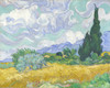 Art Prints of Wheatfield with Cypresses, September 1889 by Vincent Van Gogh