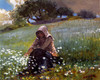 Art Prints of Girl and Daisies by Winslow Homer