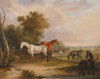 Art prints of Horses Grazing, A Grey Stallion Grazing with Mares in a Meadow by Francis Calcraft Turner