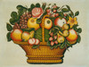 Art Prints of Basket of Fruit and Flowers by 19th Century American Artist