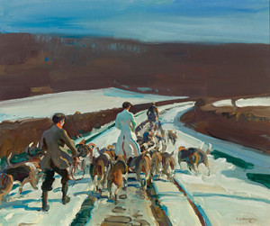 Art Prints of The Young Entry, a Snowy Road, Woolsthorpe by Alfred James Munnings