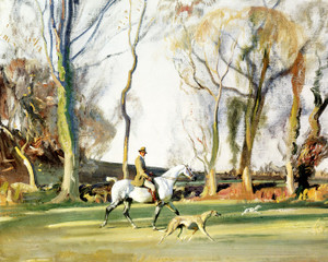 Art Prints of Self Portrait of the Artist on a Grey Cob by Alfred James Munnings