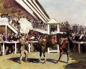 Art Prints of Unsaddling at Epsom by Alfred James Munnings