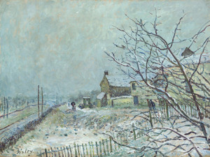 Art Prints of First Snow at Veneux Nadon by Alfred Sisley
