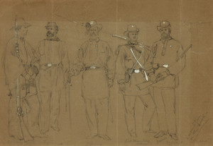 Art Prints of Group of Rhode Island Soldiers, Company C (21052L) by Alfred Waud