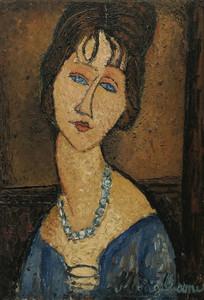 Art Prints of Portrait of Jeanne Hebuterne by Amedeo Modigliani
